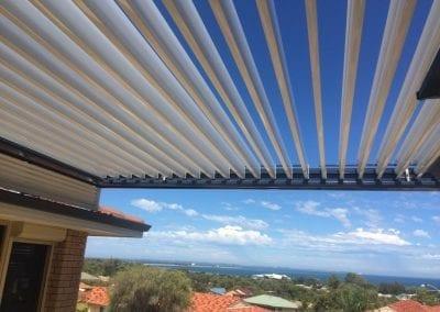 Solar pergola roof elevated